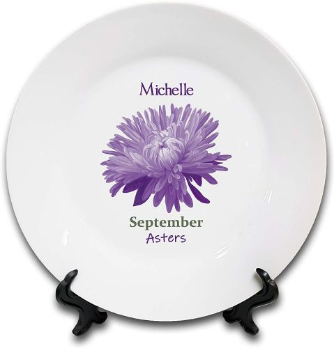 Personalised Flower of The Month September Novelty Gift Ceramic Plate & Stand